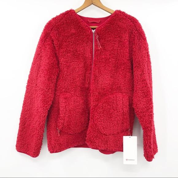 NWT Lululemon Oh So Sherpa Full Zip Red Jacket 6